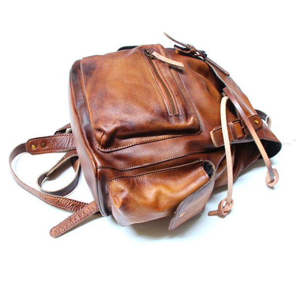 Womens Cool Leather Backpacks Brown Leather Travel Backpack Bag Purse for Women quality