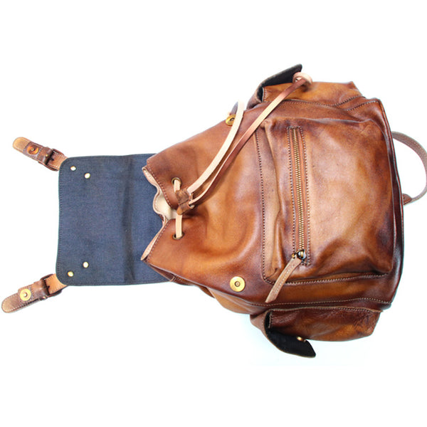 Womens Cool Leather Backpacks Brown Leather Travel Backpack Bag Purse for Women stylish