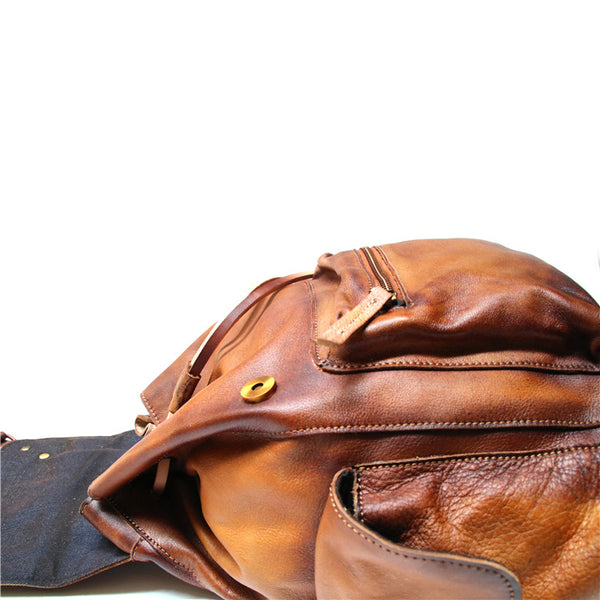 Womens Cool Leather Backpacks Brown Leather Travel Backpack Bag Purse for Women trendy