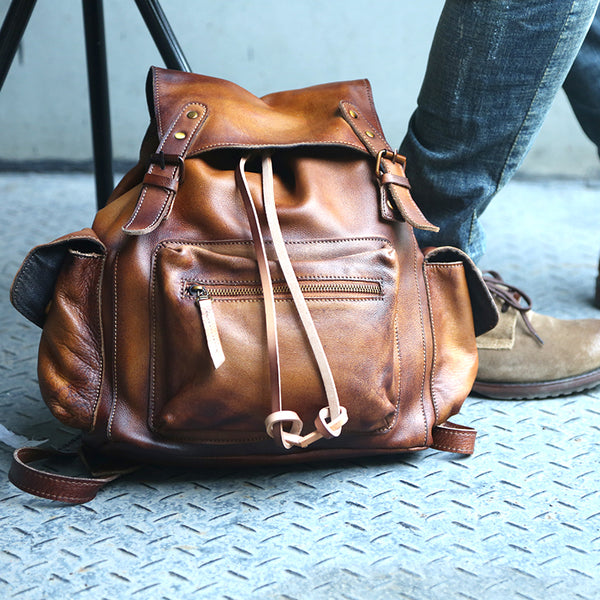 Womens Cool Leather Backpacks Brown Leather Travel Backpack Bag Purse