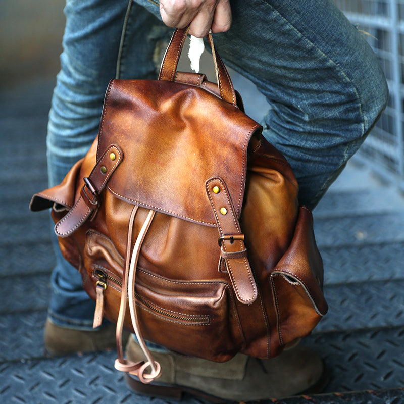 Womens Cool Leather Backpacks Brown Leather Travel Backpack Bag