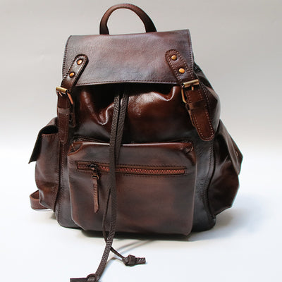 Womens Cool Leather Backpacks Brown Leather Travel Backpack Bag Purse for Women