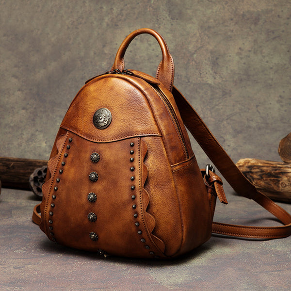 Womens Cute Brown Leather Backpack Purse Back Bag bookbags for Women Affordable