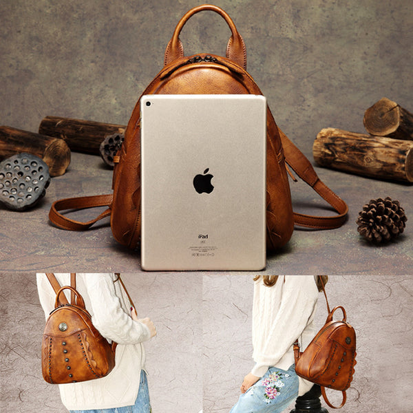 Womens Cute Brown Leather Backpack Purse Back Bag bookbags for Women Best