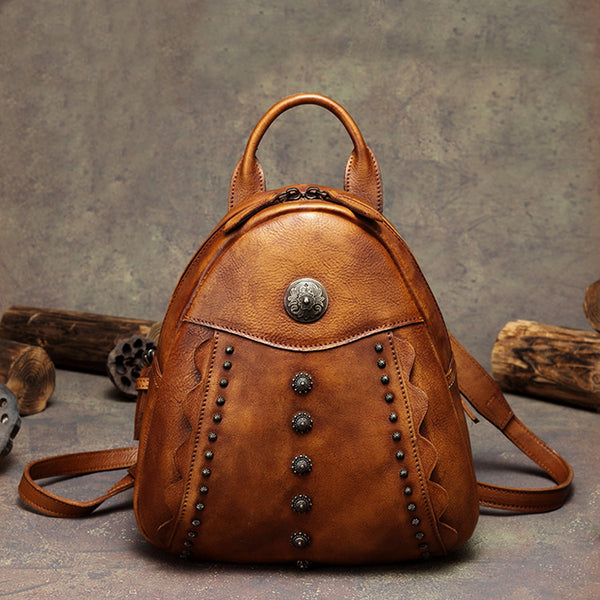 Womens Cute Brown Leather Backpack Purse Back Bag bookbags