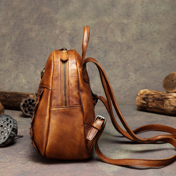 Womens Cute Brown Leather Backpack Purse Back Bag