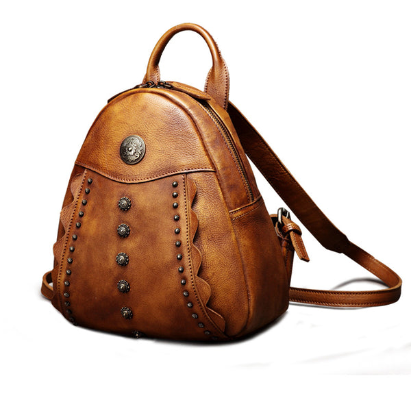 Womens Cute Brown Leather Backpack Purse