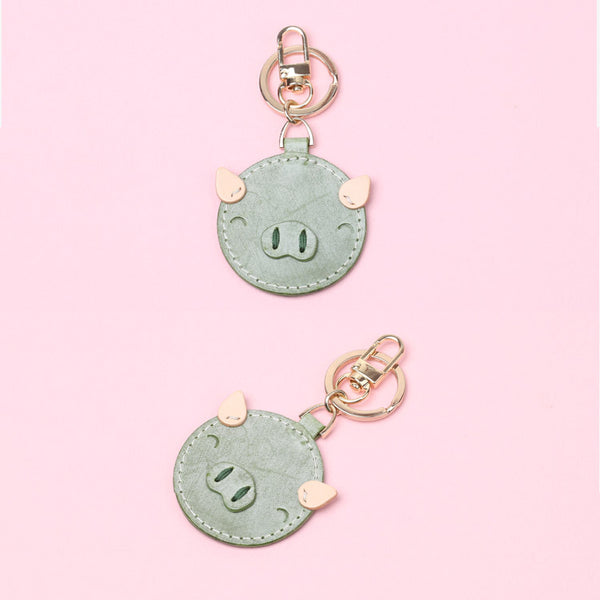 Womens Designer Keychains Cute Leather Piggy Keyrings for Women Details