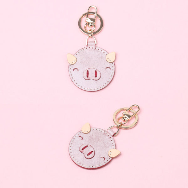 Womens Designer Keychains Cute Leather Piggy Keyrings for Women Genuine Leather