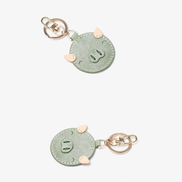 Womens Designer Keychains Cute Leather Piggy Keyrings for Women cowhide