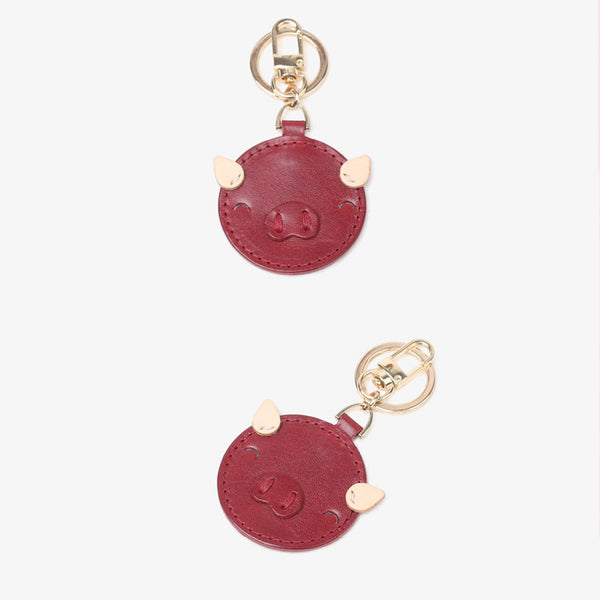 Womens Designer Keychains Cute Leather Piggy Keyrings for Women gift