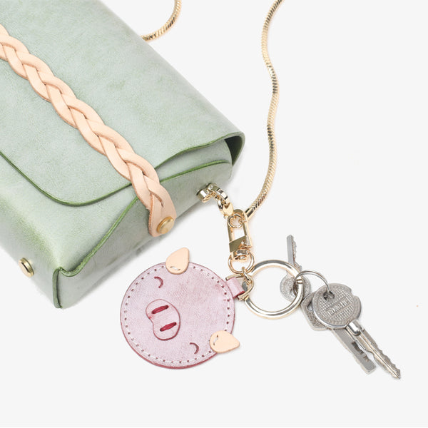 Womens Designer Keychains Cute Leather Piggy Keyrings for Women