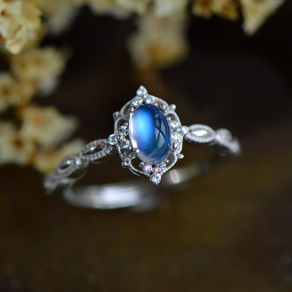Female Sterling Silver Blue Moonstone Engagement Ring June Birthstone Jewelry For Women Accessories