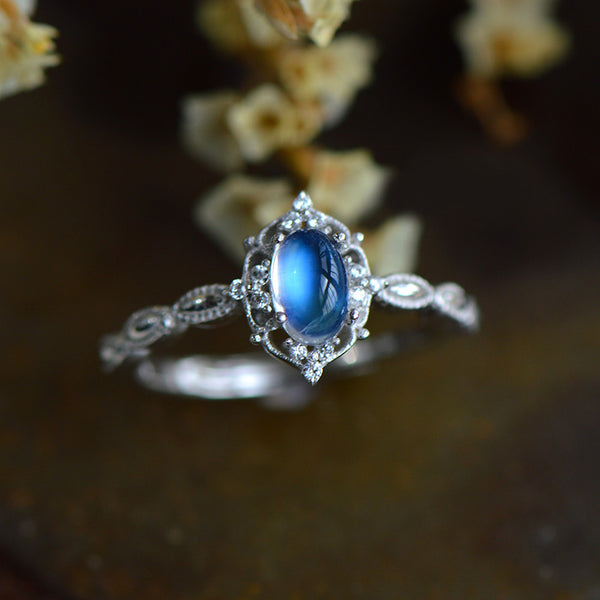 Female Sterling Silver Blue Moonstone Engagement Ring June Birthstone Jewelry For Women