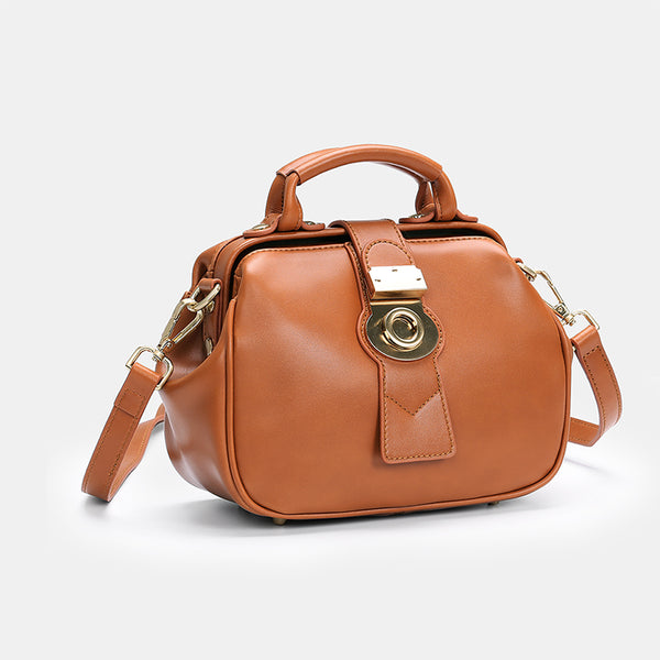 Leather Female Doctors Bag Purse Vintage Leather Crossbody Handbags for Women