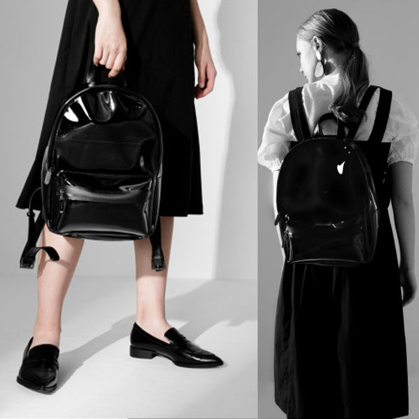 Womens Fashion Black PVC and Leather Backpack Bag Purse Funky Backpacks for Women Details