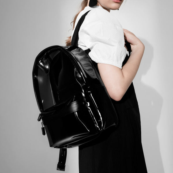 Womens Fashion Black PVC and Leather Backpack Bag Purse Funky Backpacks for Women beautiful
