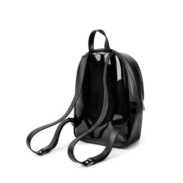 Womens Fashion Black PVC and Leather Backpack Bag Purse Funky Backpacks for Women cowhide