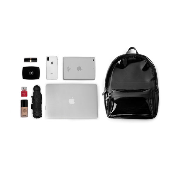 Womens Fashion Black PVC and Leather Backpack Bag Purse Funky Backpacks for Women cute