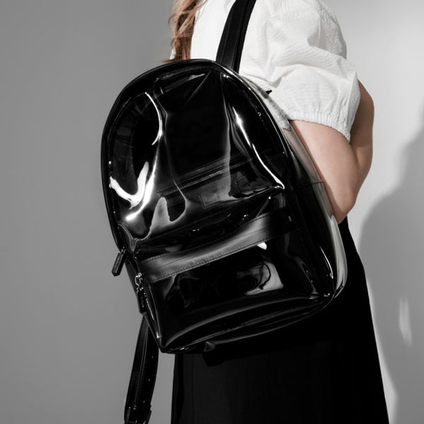 Womens Fashion Black PVC and Leather Backpack Bag Purse Funky Backpacks for Women