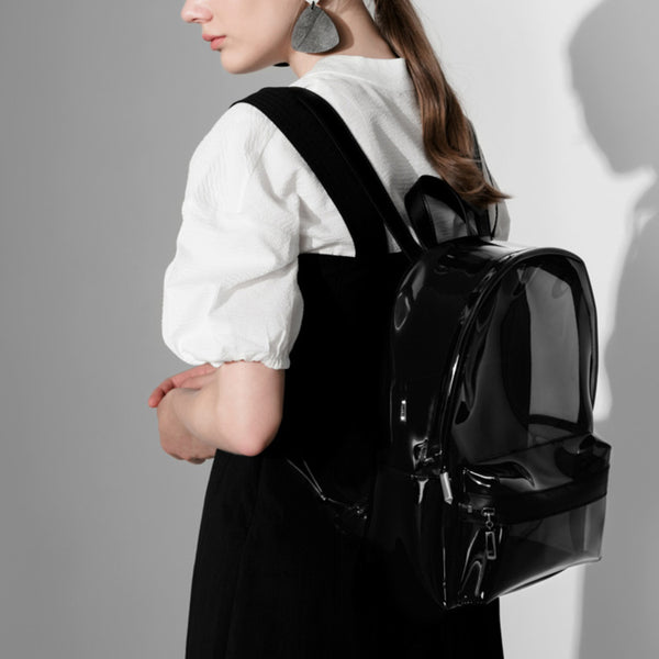 Womens Fashion Black PVC and Leather Backpack Bag Purse Funky Backpacks