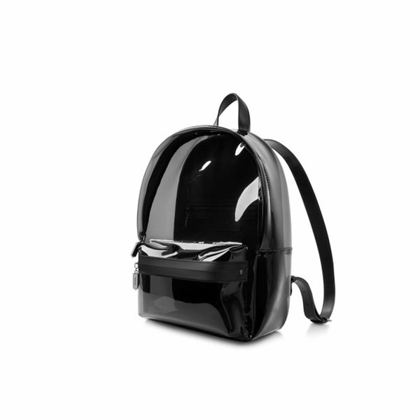 Womens Fashion Black PVC and Leather Backpack Bag Purse