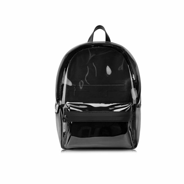 Womens Fashion Black PVC and Leather Backpack Bag