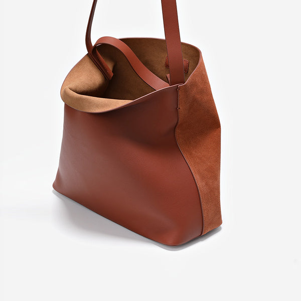 Womens Genuine Leather Brown Tote Bags Purse