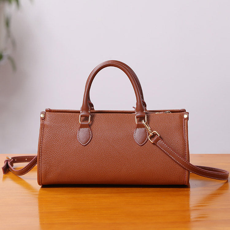 Womens Genuine Leather Handbags Crossbody Bags Purses for Women Brown