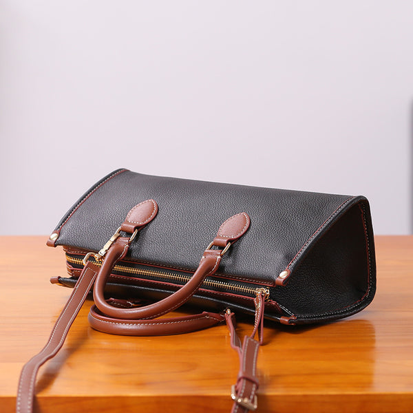 Womens Genuine Leather Handbags Crossbody Bags Purses for Women black
