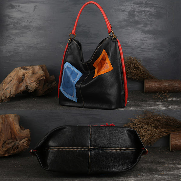 Womens Genuine Leather Hobo Handbags Tote Bags Purses for Women black