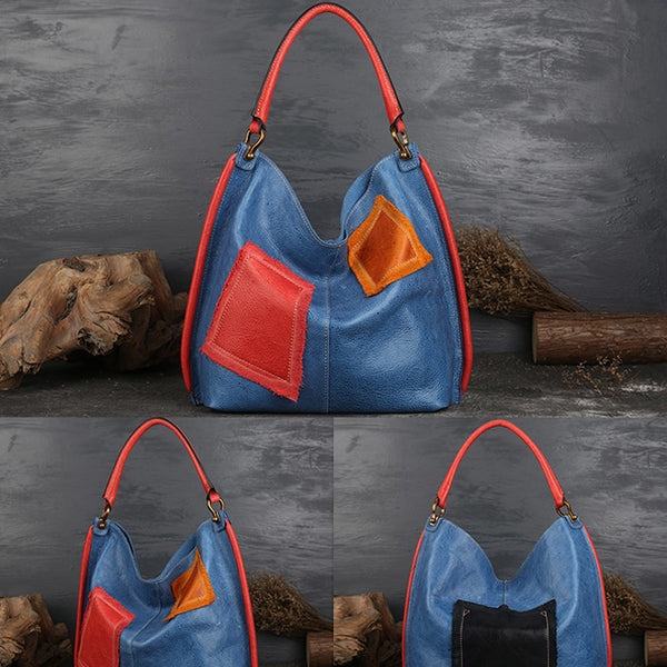 Womens Genuine Leather Hobo Handbags Tote Bags Purses for Women cowhide
