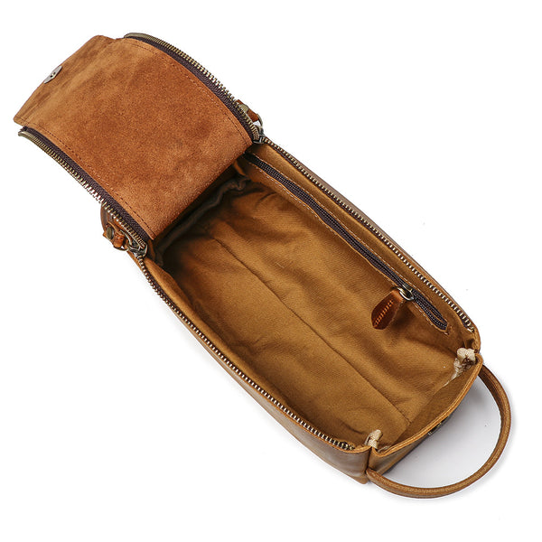 Womens Genuine Leather Makeup Bags Wristlet Wallet That Holds Phone for Women Brown