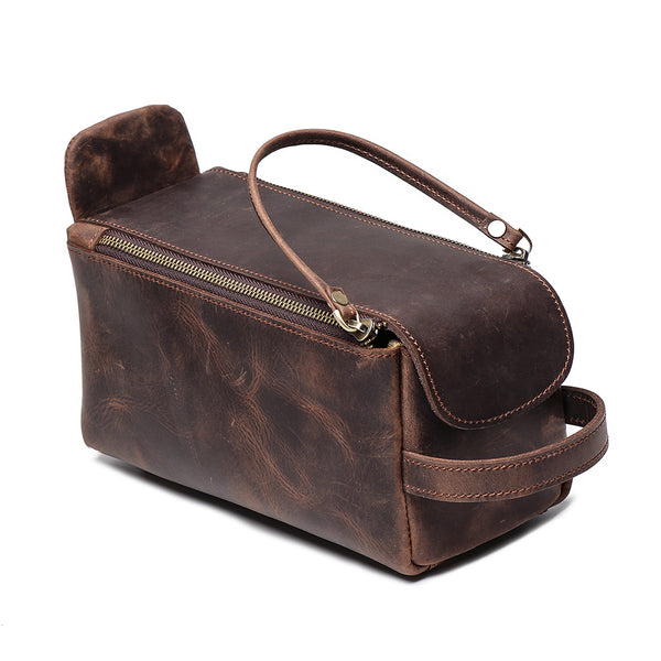 Womens Genuine Leather Makeup Bags Wristlet Wallet That Holds Phone for Women Cowhide