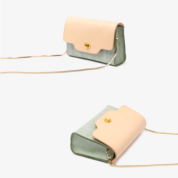 Womens Green Leather Chain Crossbody Purse Over The Shoulder Bags for Women Boutique