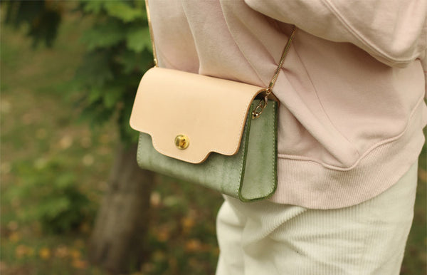 Womens Green Leather Chain Crossbody Purse Over The Shoulder Bags for Women Genuine Leather