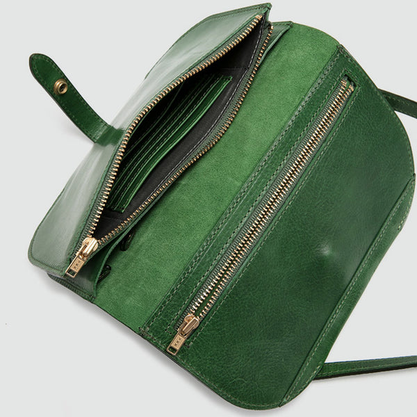 Womens Green Leather Crossbody Saddle Bag Purse Small Shoulder Bag Designer