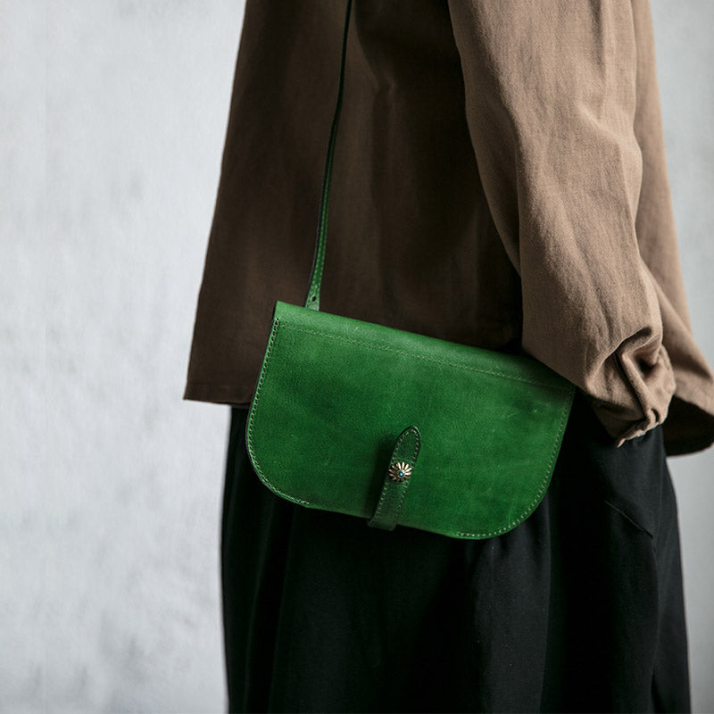 Womens Green Leather Crossbody Saddle Bag Purse Small Shoulder Bag Details