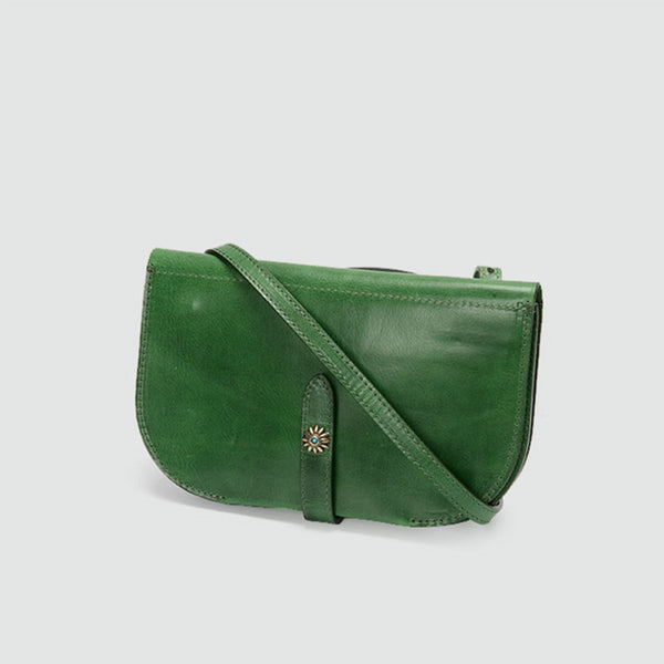Womens Green Leather Crossbody Saddle Bag Purse Small Shoulder Bag beautiful