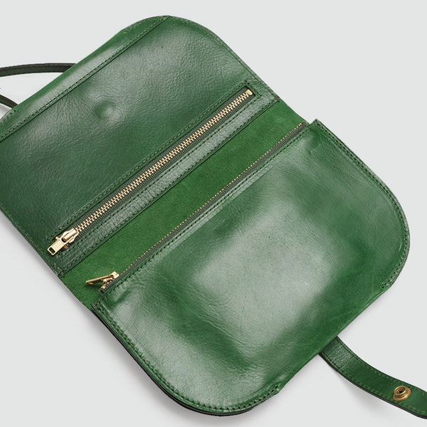 Womens Green Leather Crossbody Saddle Bag Purse Small Shoulder Bag cute