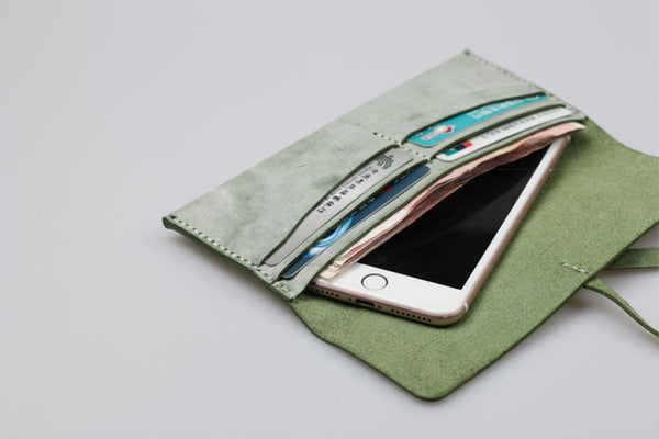 Womens Green Leather Slim Long Wallets Clutch Purses for Women Details