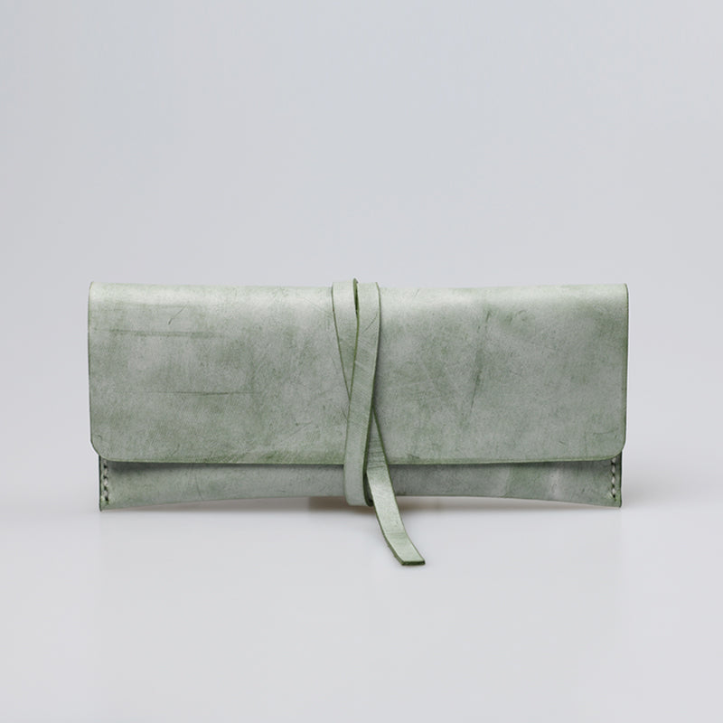 Womens Green Leather Slim Long Wallets Clutch Purses for Women Genuine Leather