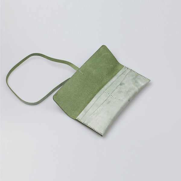 Womens Green Leather Slim Long Wallets Clutch Purses for Women cool