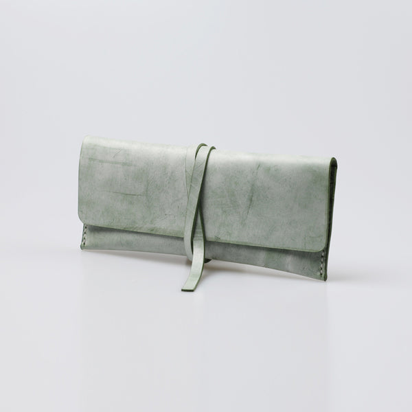 Womens Green Leather Slim Long Wallets Clutch Purses for Women