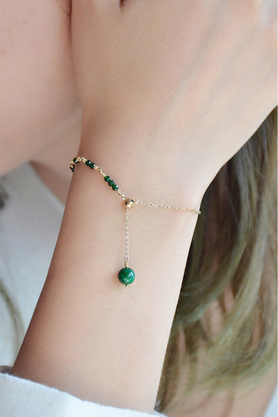 Womens Jade Beaded Bracelets 14K Gold Charm Bracelets for Women elegant