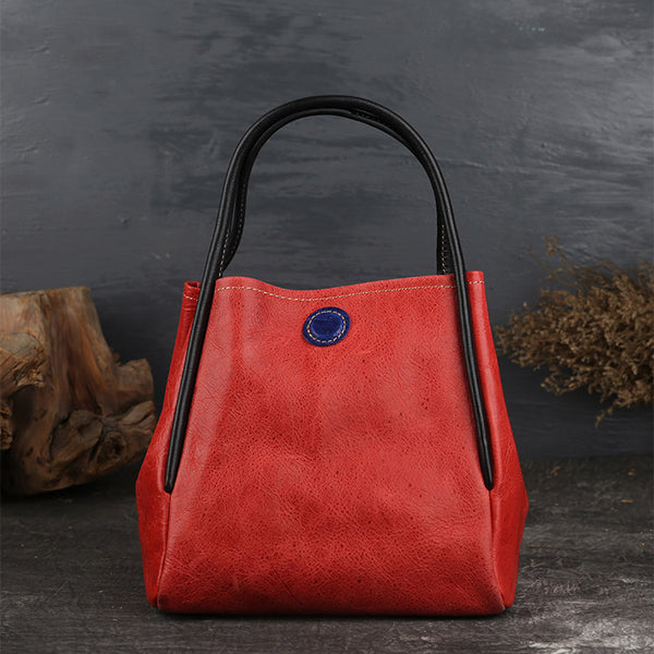 Womens Leather Bucket Bag Purse Leather Tote Handbags for Women