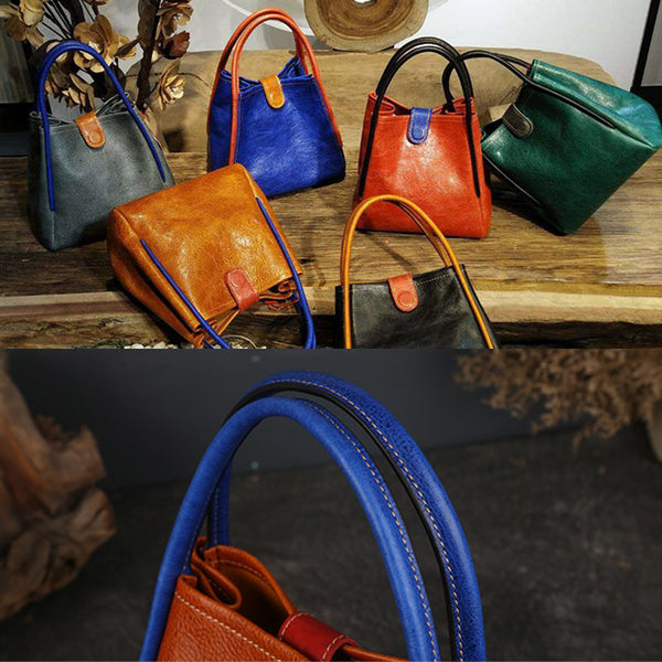 Womens Leather Bucket Bag Purse Leather Tote Handbags for Women Handmade