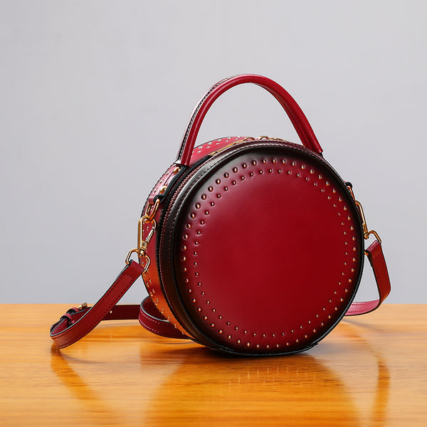 Womens Leather Circle Bag Crossbody Bags Shoulder Bag Purses for Women