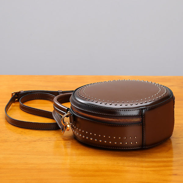 Womens Leather Circle Bag Crossbody Bags Shoulder Bag Purses for Women cool