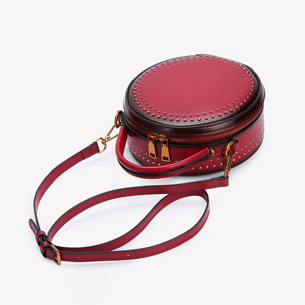 Womens Leather Circle Bag Crossbody Bags Shoulder Bag Purses for Women mini